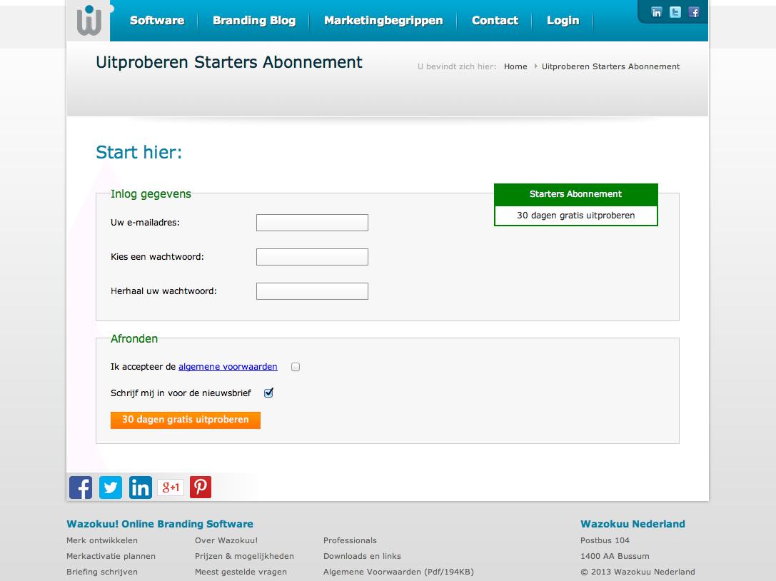 Website voor verkoop Saas abonnementen