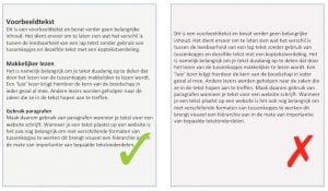 Tussenkopjes versus lap tekst