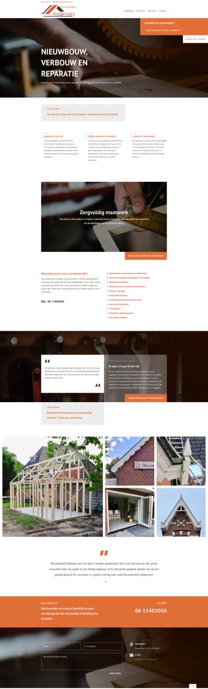 Website Bouwbedrijf Adamsky